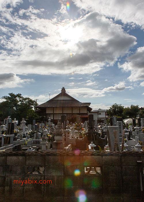 寺,墓,逆光